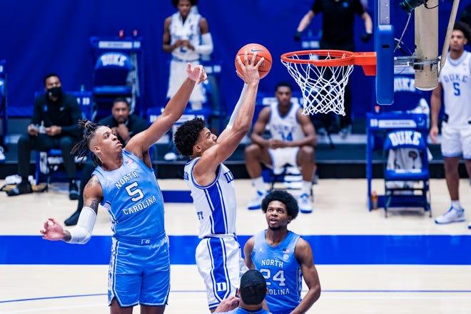 Duke Men's Basketball takes on the University of North Carolina Tar Heels in the first half at the Cameron Indoor Stadium on February  6, 2021 at Durham, North Carolina.