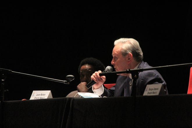 Fort Smith Ward 3 City Director Lavon Morton, right, speaks alongside Ward 2 Director André Good at a Fort Smith Board of Directors meeting on Tuesday, Oct. 20, 2020, in the Fort Smith Convention Center.