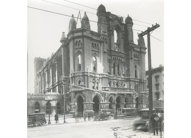 Columbus City Hall once stood where the Ohio Theatre is today at 39 E. State St. Construction started on the Gothic architecture building in 1869 and was completed in 1872. It was destroyed by fire Jan. 12, 1921. The decision was made not to rebuild because of extensive fire and water damage, and it also was considered an eyesore. A new City Hall was constructed at 90 W. Broad St. and dedicated in 1928.