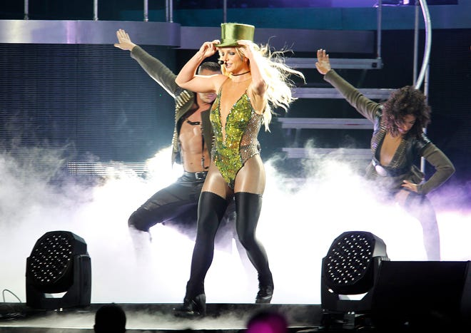Britney Spears performs during a concert in Taipei, Taiwan, in 2017.