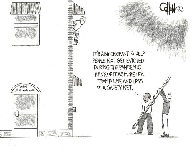 """""""No Evictions"""" Feb. 6 Cohen editorial cartoon"""