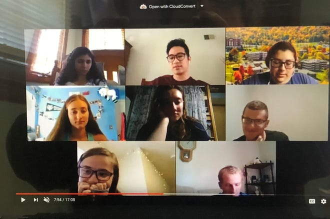 Members of the Newman House hold a meeting via Zoom. Newman House is still serving the spiritual needs of Roman Catholic Binghamton University students while following all COVID-19 precautions. From left to right in the first row are: Janey Moody, Rafael Cabahug and Rosemary Cannarella. Second row, from left to right, Hannah Clary, Sophia Mattern and Andrew Zabatta.   In the third row are Hannah Bronson and Michael Galeazza.