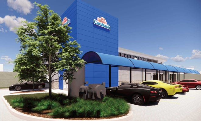 This artist's rendering depicts a3,211-square-footMr. Clean Car Wash with two drive-up pay lanes and a parkingarea with 15 vacuum stations at the corner of U.S. 1 and Palmetto Avenue in downtown Melbourne.