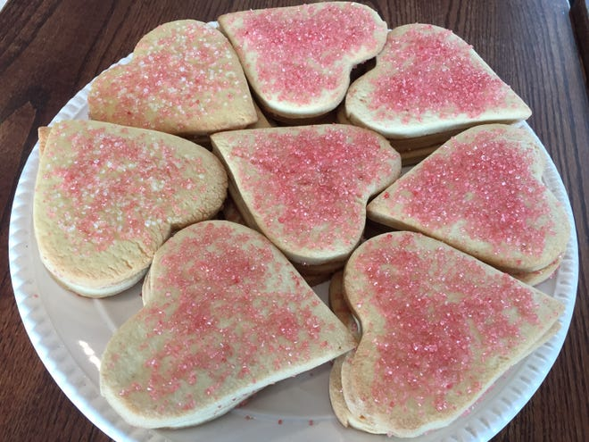 Heart-shaped sugar cookies for sale Feb. 5, 2021 at Chef's Corner in Williston.