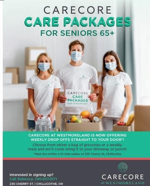 CareCore at Westmoreland is offering care packages for seniors aged 65 or older. Choose from either a bag of groceries or a weekly meal to be delivered right the home. Those living within a 10-mile radius of 230 Cherry St. in Chillicothe are eligible for the program.