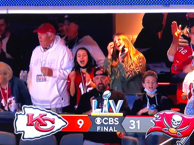 Kevin Youkilis looks on at Raymond James Stadium as the Bucs wrap up a 31-9 win in Super Bowl LV.