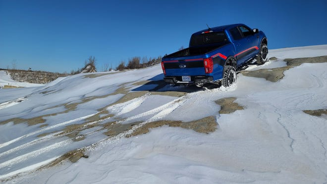 The 2021 Ford Ranger Tremor climbs Mt. Magna at Holly Oaks in the snow. The rocks make for slick going, but with 4-wheel-low selected and the locking rear differential on, the Tremor made it to the top.