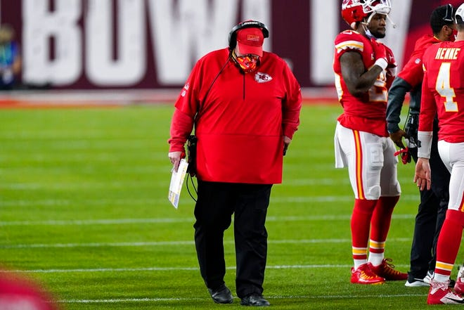 Kansas City Chiefs' Andy Reid hangs his head during the second half of Super Bowl 55 football Sunday. The Buccaneers won 31-9.