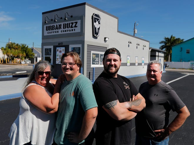 From left: Sharene, Adam, Alex and Jeff Eble are the nucleus behind the family-owned Urban Buzz Coffee Company, located at 4413 Del Prado Blvd. South in Cape Coral.