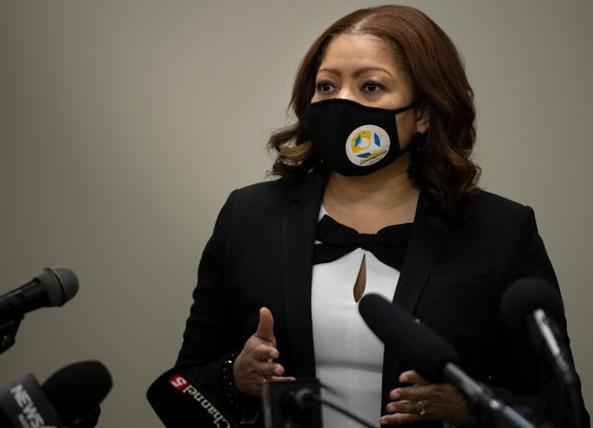 MNPS Director Dr. Adrienne Battle answers questions during a press conference Monday, Feb. 8, 2021 in Nashville, Tenn. announcing that Davidson County teachers and support staff could start receiving COVID-19 vaccinations by the 20th of February.