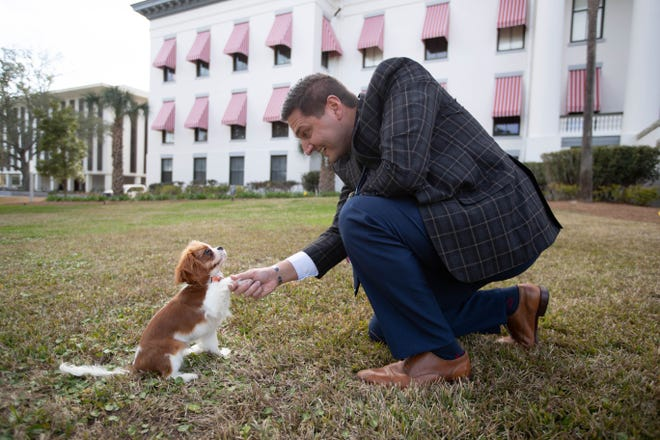 Briar Burgess shakes paws with Sen. Danny Burgess in front of the Florida Historic Capitol Monday, Feb. 8, 2021.