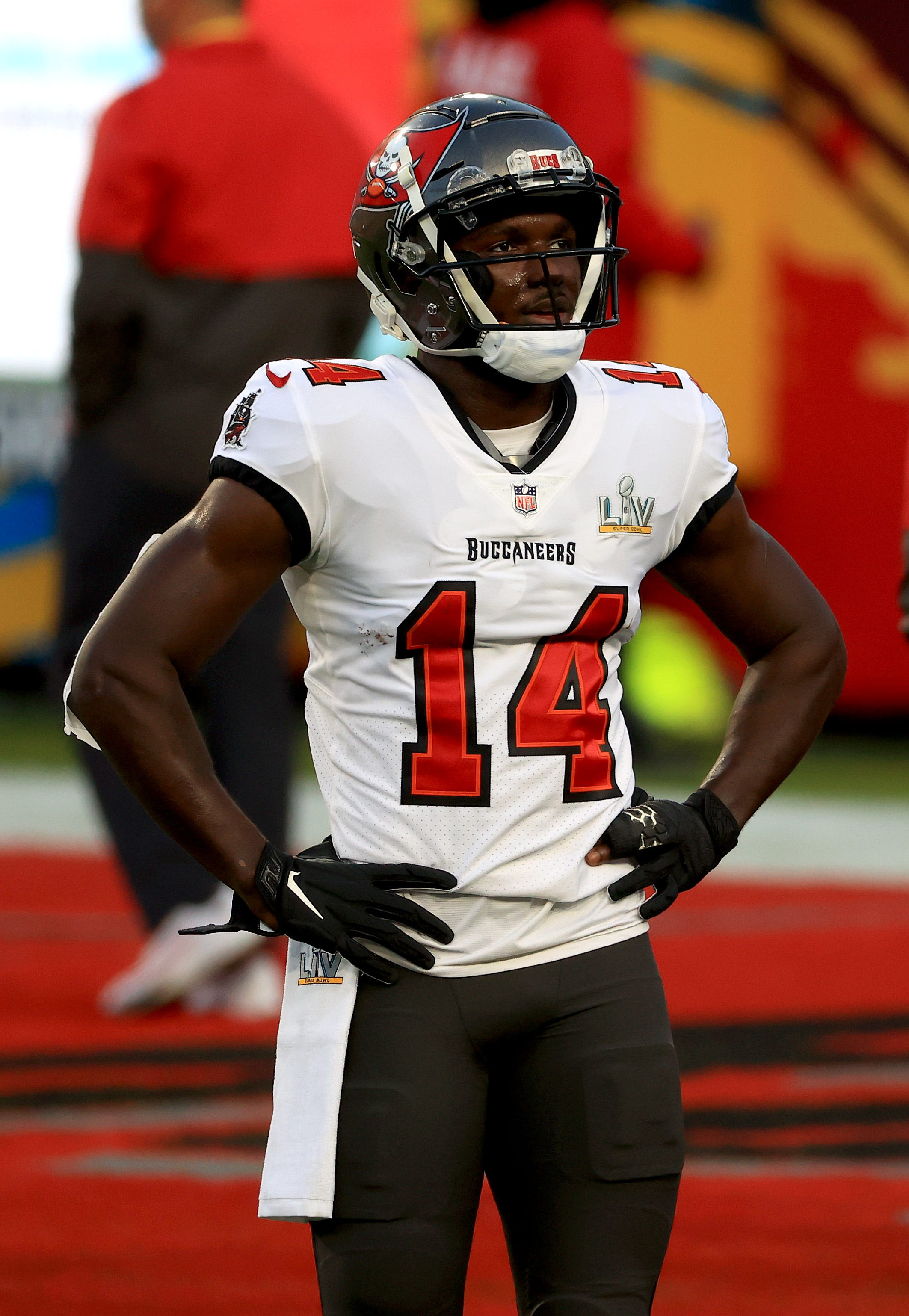 Chris Godwin (14) of the Tampa Bay Buccaneers looks on before playing against the Kansas City Chiefs in Super Bowl 55 at Raymond James Stadium on Sunday, Feb. 7, 2021, in Tampa, Fla.