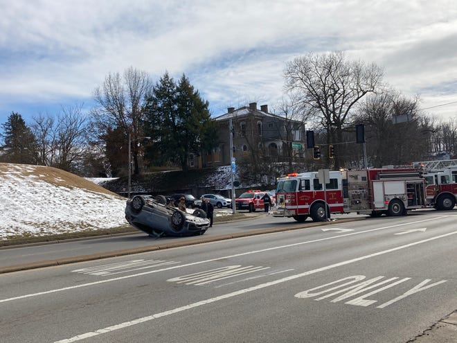 Two people were taken to the hospital after a rollover crash at Underwood and Market streets Monday afternoon.