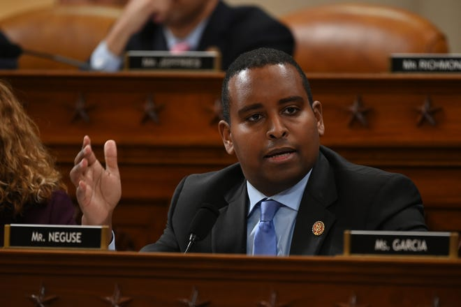 Rep. Joe Neguse, D-Colo speaks as the House Judiciary Committee meets to markup Articles of Impeachment against President Donald Trump on Dec 11, 2019.