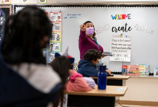 Full-time teacher Monica Rey during class at Grassy Waters Elementary School in West Palm Beach, Fla. on Jan. 8, 2021.