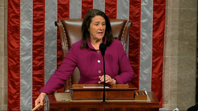 Rep. Diana DeGette, D-Colo., the Speaker Pro Tempore, presides as the House of Representatives begins the day for debates the articles of impeachment against President Donald Trump at the Capitol in Washington, Dec. 18, 2019.