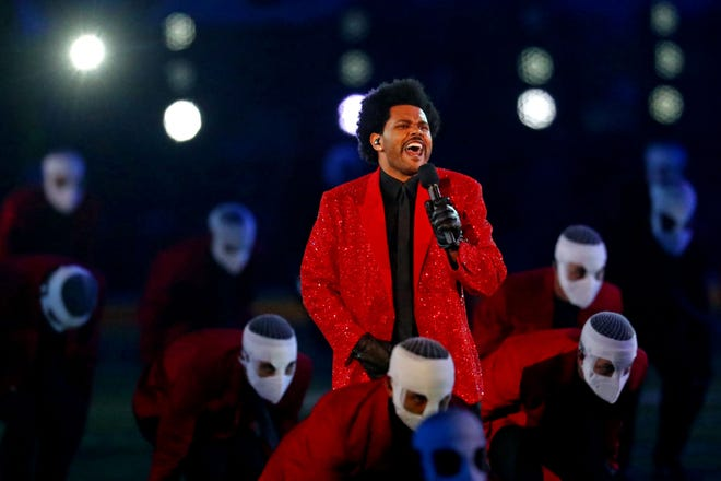 The Weeknd performs at the February 2021 halftime show at Super Bowl 55 at Raymond James Stadium.