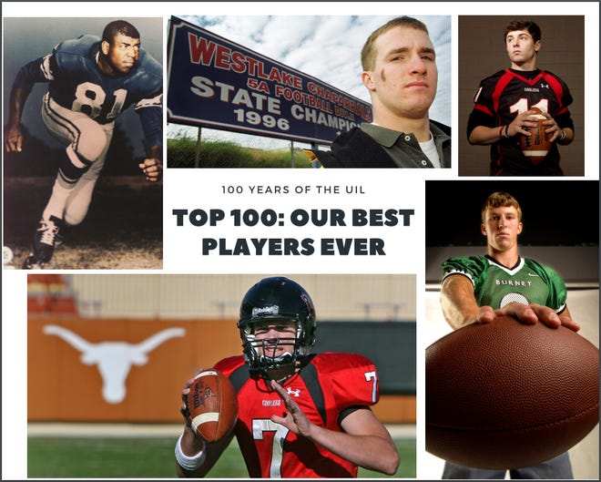 "In honor of 100 years of the UIL, the American-Statesman sports staff has selected the top 100 players who participated in high school football in schools from the Austin area. Among the best of the best, clockwise from top left, are old Anderson High's Dick ""Night Train"" Lane, Westlake's Drew Brees, Lake Travis' Baker Mayfield, Burnet's Jordan Shipley and Lake Travis' Garrett Gilbert."