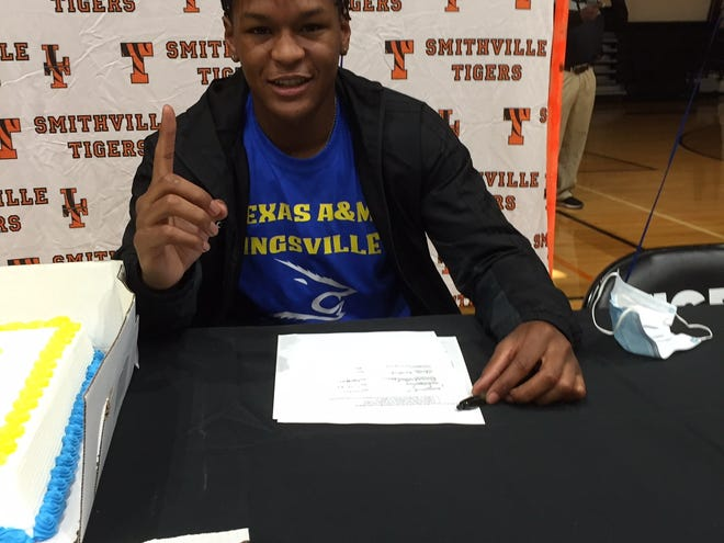 Smithville's Chris Sanders saw his hard work pay off when he signed a letter of intent to play at Texas A&M Kingsville last week.