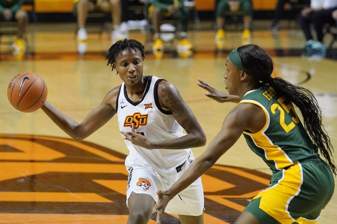 Oklahoma State forward Natasha Mack leads the country in rebounds and blocked shots.