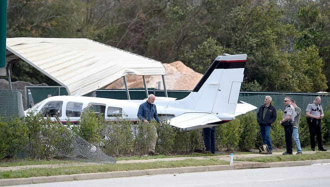 A private twin engine aircraft ran off the runway and across Highland Avenue near Daniel Field last February. An investigation determined the crash was caused by pilot error.