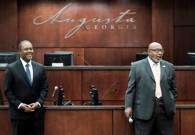 """Mayor Hardie Davis, left, and commissioner Dennis Williams address students at a """"Take Our Daughters and Sons to Work Day"""" program in 2015. The Augusta Commission rejected a call Thursday to perform a citywide audit, with Williams saying it implies wrongdoing he hasn't seen."""