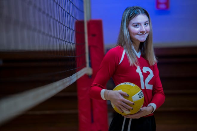 Alleluia Community School volleyball player Mia Samaha photographed at her school in Augusta, Ga., Tuesday morning February 9, 2021.