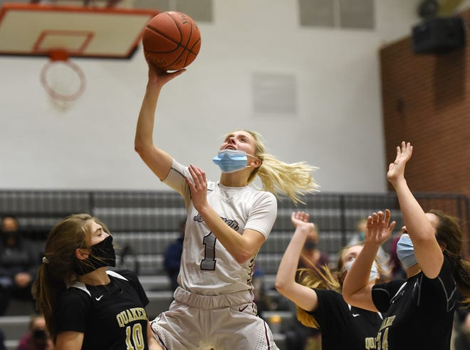 Beaver's Emma Pavelek shoots against Quaker Valley during Monday night's game at Beaver High School.