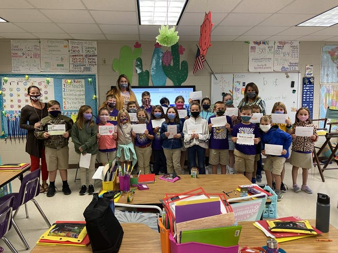 South Beauregard Elementary Students with their thank you notes/cards