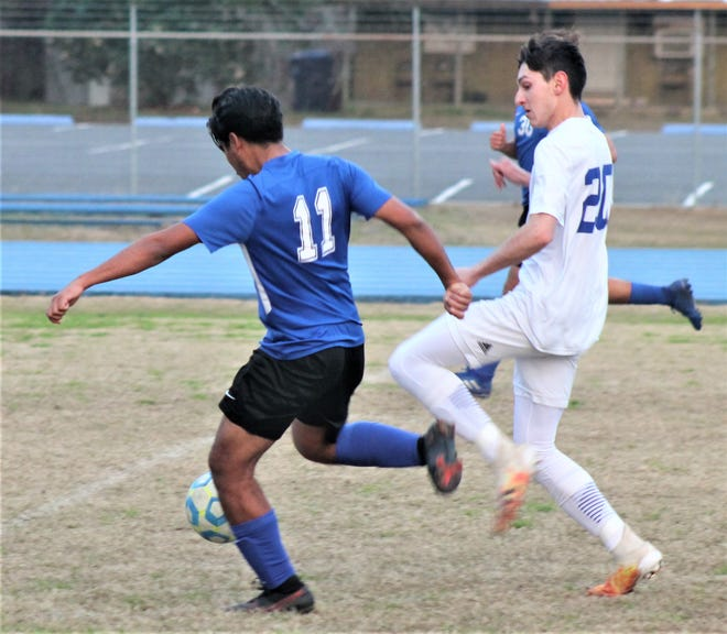 DeRidder's David Ayala (11) scored two goals for the Dragons in their 4-3 victory over West Feliciana on Saturday in the first round of the Division III playoffs Saturday at Cecil Doyle Memorial Stadium.