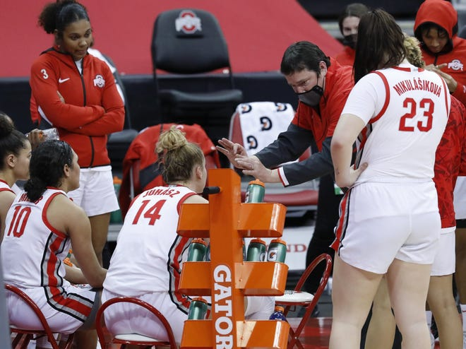 Ohio State coach Kevin McGuff, here talking to his team in a Jan. 25 win over Maryland, can show his players that teams who practice well tend to play well.