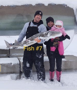 Andrew LaLonde brought in the last fish of the season, a 60 inch female weighing 43 pounds. Courtesy photo