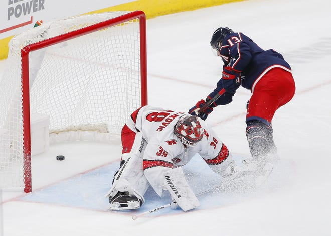 Blue Jackets forward Cam Atkinson scored on a penalty shot in the second period of Monday's win against Carolina. It was one of two effort plays by the Jackets that were rewarded with goals.
