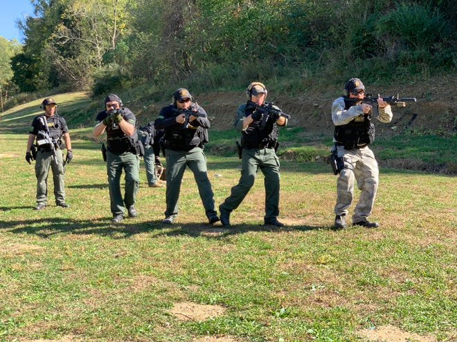 Guernsey County sheriff's deputies participate in monthly training sessions to improve their skills when confronted with hostile situations.