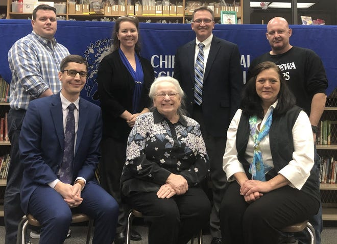 Chippewa Local Schools Board of Education members, pictured alongside former Treasurer Molly Koch and Superintendent Todd Osborn (center back). After Koch announced in January she was resigning, the board began a search for a new treasurer.