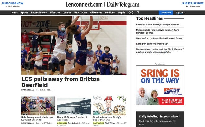 The Daily Telegram has a new website as of Tuesday, Feb. 9, 2021.