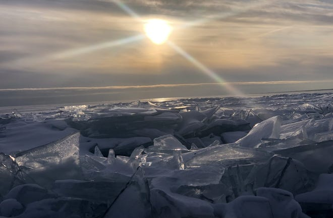 Several large ice chunks are pictured along Lake Erie in this submitted photo.