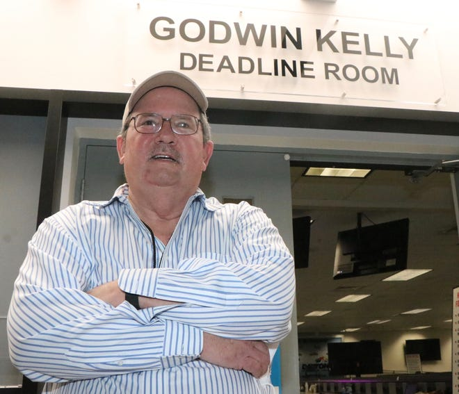 Daytona International Speedway renamed the main working area of its infield media center in honor of former Daytona Beach News-Journal Motorsports Editor Godwin Kelly on Tuesday. The area is now called the Godwin Kelly Deadline Room. Kelly retired last year after more than 40 years covering events at the Speedway and all over the nation. Feb. 9, 2021.