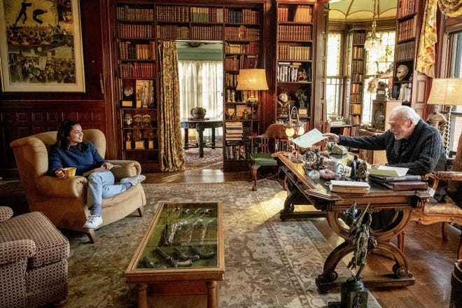 """An image released by Lionsgate shows Ana de Armas, left, and Christopher Plummer in a scene from """"Knives Out"""" filmed at the Ames Mansion at Borderland State Park in Easton."""