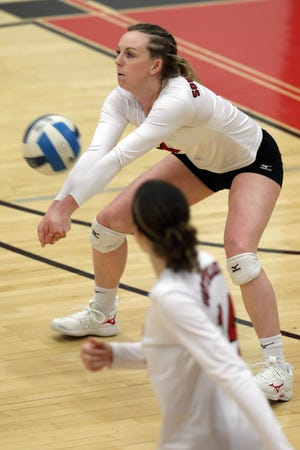 Southeastern Community College's Corinne Booton (3) returns the ball during their match against Iowa Central Community College, Sunday Feb. 7, 2021 at SCC's Loren Walker Arena.