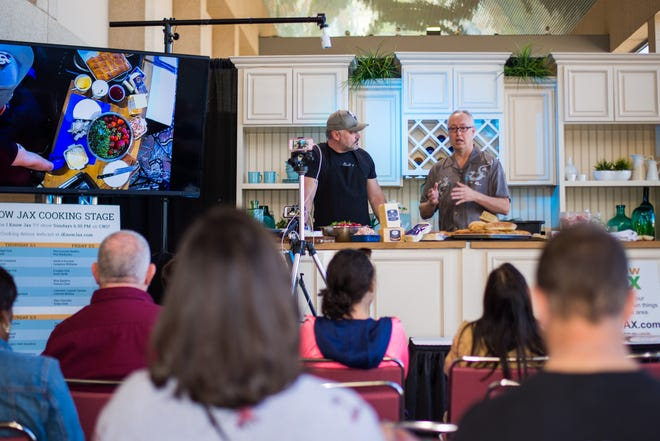 Chef Joe Talentino (right) is pictured during a cooking demonstration at the 2019 Fall Home + Patio Show. Usually held twice a year at the Prime Osborn Convention Center, last year's fall show was cancelled and the spring edition has been pushed back to May.