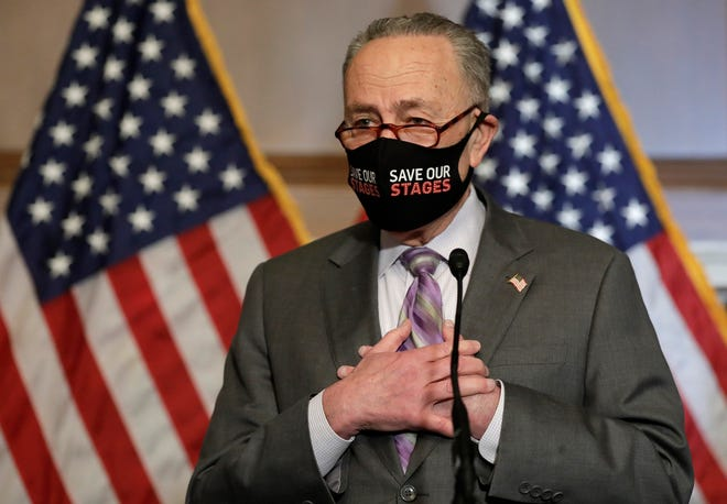 U.S. Senate Majority Leader Chuck Schumer (D-NY) speaks to the media before a Senate Impeachment trial against former President Donald Trump on Capitol Hill in Capitol Hill in Washington, D.C. on Feb. 9, 2021.