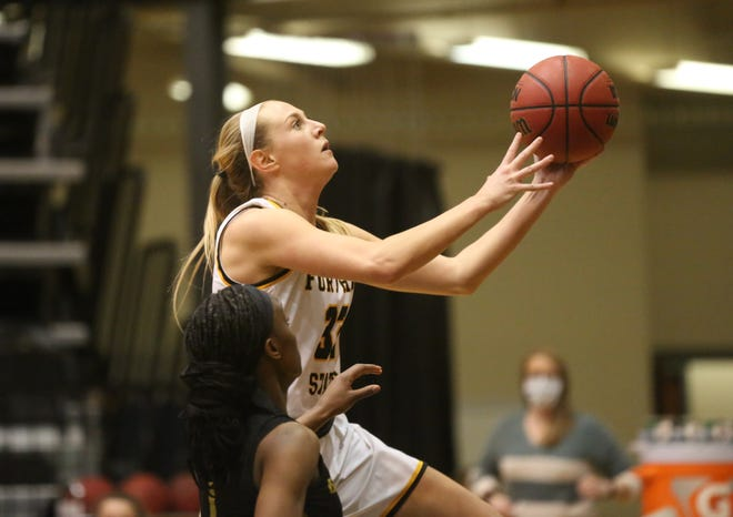 Fort Hays State's Whitney Randall makes a layup during a game earlier this season at Gross Memorial Coliseum.