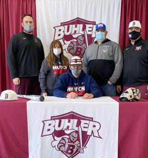 Buhler High School's Ryan Henderson signed to continue his academic and baseball career at Hutchinson Community College.