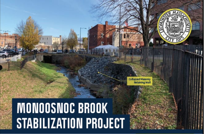 This graphic shows the collapsed masonry retaining wall along Monoosnoc Brook in downtown Leominster that will be repaired.