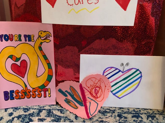 Webster students at Klem Road South Elementary School create 280 valentines for residents of St. Ann's Care Center at Cherry Ridge and Sage Harbor at Baywinde.