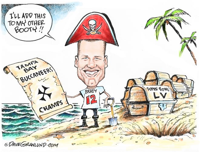 Dave Granlund cartoon on another Super Bowl win for Tom Brady