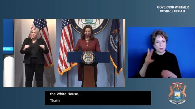 Michigan Gov. Gretchen Whitmer gives a press conference Feb. 9, 2021, on the COVID-19 situation, vaccination efforts and relief plans. (Screenshot from livestream on Gov. Whitmer's YouTube channel)