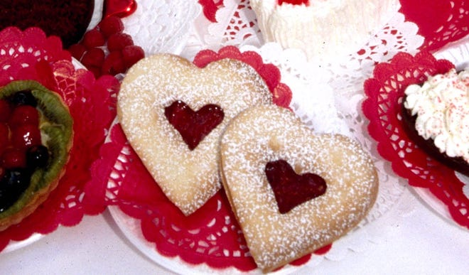 Linzer heart-shaped cookies are always welcome for Valentine's Day.