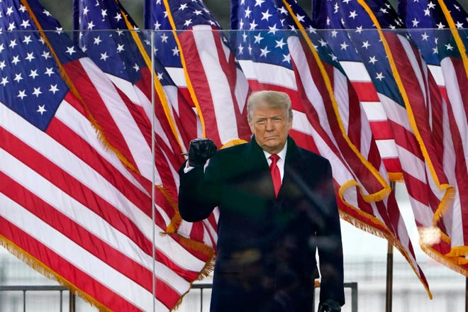 """WASHINGTON -- Former President Donald Trump addresses a crowd of supporters at the Jan. 6 """"Stop the Steal"""" rally."""